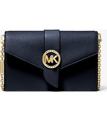 mk borsa a tracolla media convertibile in pelle - navy (blu) - michael kors