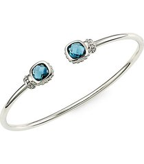 sterling silver & london blue spinel cuff bracelet