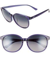 women's maui jim water lily 62mm polarizedplus2 round sunglasses - navy w/ light blue/ grey