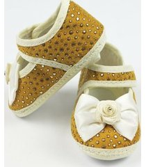 sapato bebê feminino mostarda e dourado-p