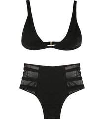 brigitte hot pants bikini set - black