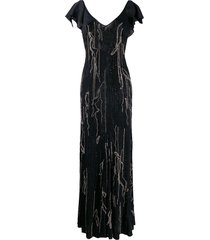 amen embellished evening dress - black