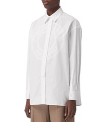 burberry clarissa logo button-up poplin shirt, size 12 in optic white at nordstrom