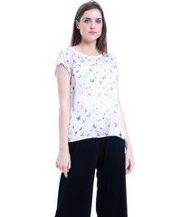blusa 101 resort wear tunica crepe mangas curtas estampada borboletinhas