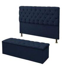 cabeceira mais calçadeira baú king 190cm para cama box sofia suede azul marinho - ds móveis