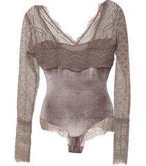 body calvin klein underwear renda veludo marrom
