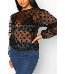 plus organza spot blouson blouse, black