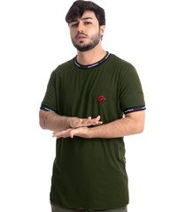 camiseta masculina suede overfame holidays verde musgo