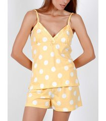 pyjama's / nachthemden admas pyjama kort hemdje zomer stippen geel