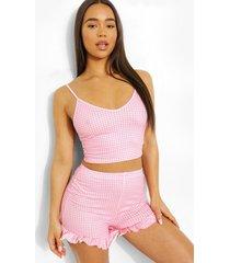 gingham pyjama romper met geplooide zoom, pink