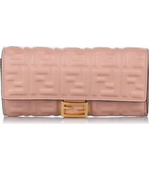 fendi continental long wallet pink sz: