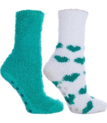 minxny women's heart print non-skid warm soft and fuzzy slipper socks, 5 piece