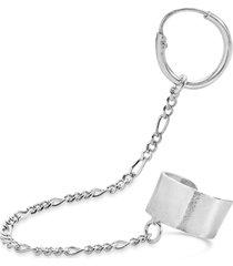 women's sterling forever figaro chain link huggie hoop & cuff single earring