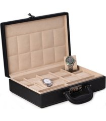 bey-berk ten watch storage box briefcase with handle and combination lock