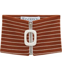 jw anderson horizontal-stripe zip-up scarf - brown