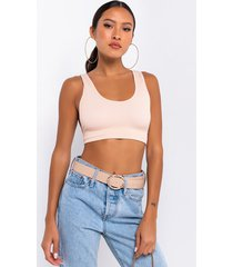 akira barely there seamless rib scoop neck crop top