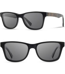 men's shwood 'canby' 54mm acetate & wood sunglasses - black/ pinecone/ grey