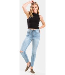 women's allie high rise distressed skinny jeans in denim by francesca's - size: 30