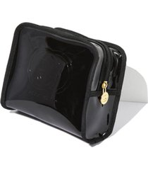 black faux leather cosmetic travel gucci case