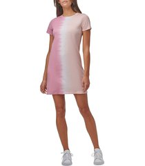 marc new york performance women's tie-dye colorblock t-shirt dress - mauve combo - size s