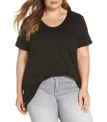 plus size women's caslon rounded v-neck tee, size 3x - black