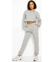 crop sweatshirt and jogger tracksuit, grey
