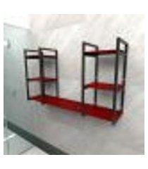 prateleira industrial banheiro aço cor preto 120x30x68cm cxlxa cor mdf vermelho modelo ind31vrb