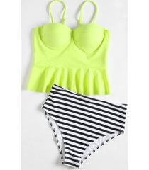 high waisted striped peplum tankini set