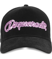 dsquared2 designer women's hats, velvet and sequins signature baseball cap