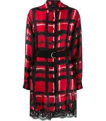 ermanno ermanno belted hand-painted check shirt dress - red