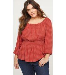 lane bryant women's off-the-shoulder convertible blouse 26/28 orange and white stripe
