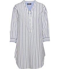midi striped cotton dress dresses everyday dresses blå sebago