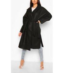 oversized belted wool look coat, black