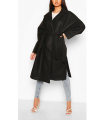 oversized belted wool look coat, black