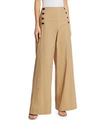 rosie assoulin women's wide-leg sailor pants - khaki - size 4