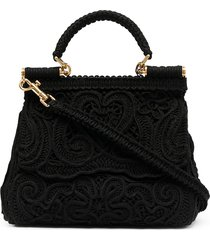 dolce & gabbana devotion lace tote - black