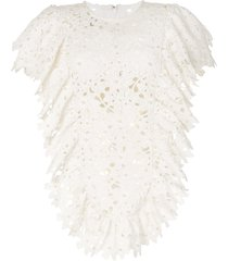 bambah lace ruffled tunic dress - white