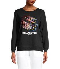 karl lagerfeld paris women's logo graphic sweatshirt - white rainbow - size s