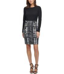 dkny plaid-skirt sheath dress