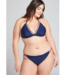 lane bryant women's no-wire swim string bikini top 26 new navy