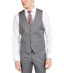 perry ellis men's portfolio slim-fit stretch gray windowpane suit vest