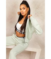 mix & match edition crop oversize zip hoodie, sage