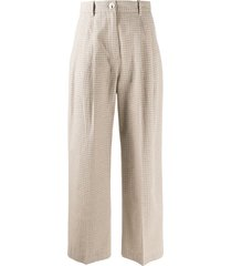 wood wood checked wide-leg trousers - green