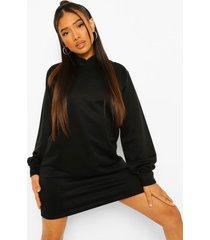 petite sweatshirt jurk met capuchon en ballonmouwen, black