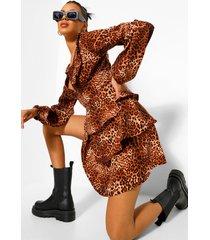 luipaardprint skater jurk met ruches, laag decolleté en laagjes, brown