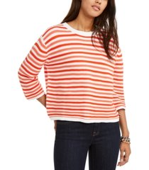 tommy hilfiger cotton striped 3/4-sleeve sweater, created for macy's