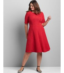 lane bryant women's perfect sleeve textured fit & flare dress 22/24 venetian red