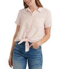 lucky brand button-down tie-front top