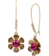 betsey johnson flower long drop earrings