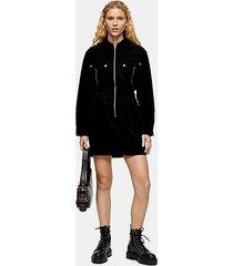 black corduroy zip through shirt dress - black